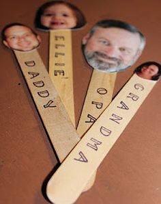 Prayer Sticks:  Popsicle stick with picture of family member or friend. Each day have child draw a name and you say a prayer for that person.  Fantastic way to teach the importance of prayer for others!!