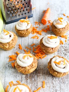 Carrot Cake Cupcakes- overhead shot with cream cheese frosting healthy recipe
