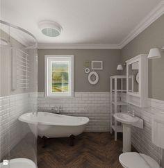 łazienka i białe cegiełki - Łazienka - Styl Rustykalny - Archomega Biuro Architektoniczne