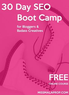 FREE 30 Day SEO Boot Camp for Bloggers & Badass Creatives. Learn the ins and outs of search engine optimization in this self-paced online course for free. You'll dive deep into Google Analytics and use other tools to see what your blog visitors are interested in, then you'll work to improve your blog content to drive even MORE traffic. You'll learn how to do keyword research and why promotion is so important to SEO.