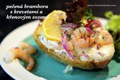 Pečená brambora s krevetami a křenovým sosem - Sverige.cz Salmon Burgers, Baked Potato, Potatoes, Eggs, Baking, Breakfast, Ethnic Recipes, Food, Morning Coffee