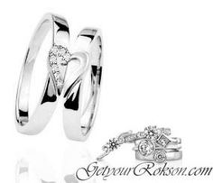 Diamond Set Our Hearts Are Now One Wedding Ring set.