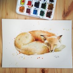"""""""Final painting, original fox watercolor by Katrina Pete #fox #watercolor #instaartist #instawatercolor #instapainting #woodland #illustration #etsyfinds #etsy #etsyartist #painting #drawing #sleepingfox"""" Photo taken by @thedailywatercolor on Instagram, pinned via the InstaPin iOS App! http://www.instapinapp.com (03/26/2015)"""