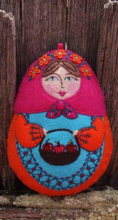Matryoshka  With Apple Basket Hand by TheSnowQueensGarden on Etsy, $47.50
