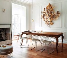 cabriolet farm table + mid century modern chairs = eclectic lovely