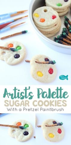 Artists big and small will love these simple Artist Palette Sugar Cookies with Pretzel Paintbrushes   Cookies   Sugar Cookies   Shaped Sugar Cookies   Dessert   Edible Crafts   Art   Artist   Painting   Skittles   Treats for Kids   Party Food   Baking   S