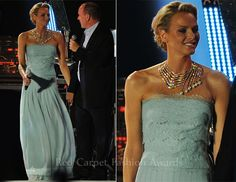 Princess Charlene on the night of her civil ceremony, Karl Lagerfeld designed this stunning seafoam blue lace strapless dress and the Cascade necklace was designed by Cartier and given to Princess Charlene by her husband, Prince Albert II of Monaco upon their wedding day. The princess looked amazing in this dress. In Monaco the ruling couple must have both a civil ceremony and a formal religious ceremony.