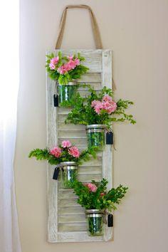 Recycled Shutter Mason Jar Herb Garden by ElizabethKateDecor, $75.00