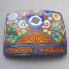 Czech Enamel Art Nouveau Pin by thecuriousbead