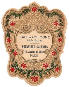 French Paris Perfume Label Eau de Cologne c1900