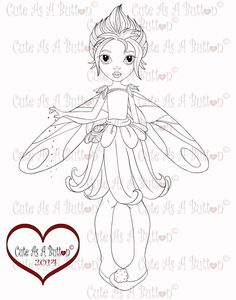 Pixie Fairy Button Digi rubberstamp, cardmaking, anime, art, copic…
