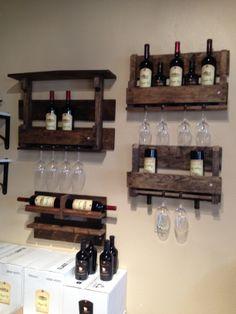 Rustic DIY wine shelves