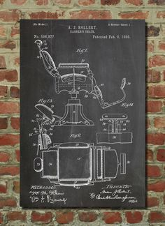 Barbers Chair Poster, Barbers Chair Patent, Barbers Chair Print, Barbers Chair…