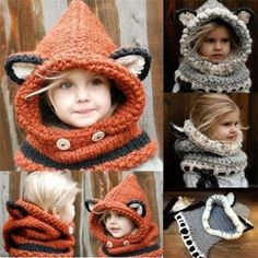 Toddler Girls Boy Baby Beanie Cap Winter Warm Skate Ski Wool Crochet Hooded Scarf Fox Cape Earflap Knitted Hat
