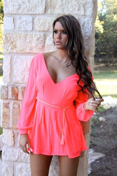 Coral romper w/ belt from Lauren and Layne Boutique