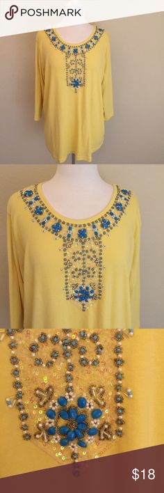 The Quacker Factory Jeweled Top Size 1X Z Quacker Factory Tops