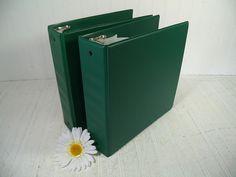 Set of Two Very Large Vintage Dark Green Vinyl & Metal Three Ring Binders - Retro School Supplies Matching 3 Metal Ring Heavy Duty Books $29.00 by DivineOrders