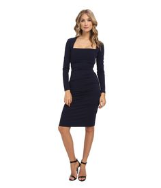 NICOLE MILLER L/S Stretchy Matte Tuck Dress. #nicolemiller #cloth #