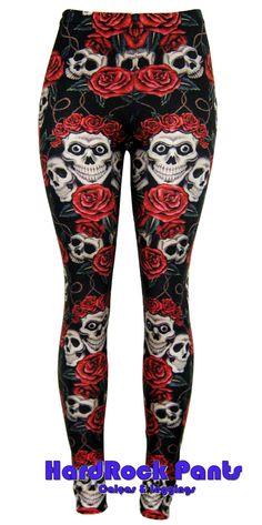 "Calça Legging em Lycra Metalizada estampa ""Caveiras e Flores - Skull""  #hardrockpants #hard #rock #pants #leggings  #skull  #caveiras #rosas"