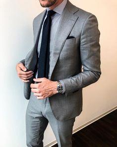 Grey suit and a blue hydroconquest for the win! liveartworthy suitinspiration eleganceisanattitude australia is part of Grey suit men - Mens Fashion Blog, Mens Fashion Suits, Mens Suits, Style Fashion, Groom Suits, Groom Attire, Fashion Clothes, Fashion Ideas, Gentleman Mode