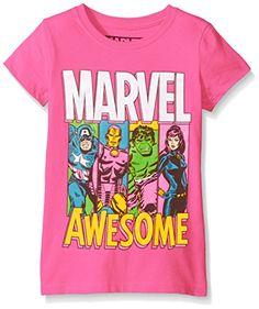 81e50376c0366 Marvel Big Girls Captain America Marvel Group TShirt Shirt Hot Pink XLarge  *** Check