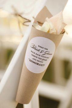 Decorative petal cones  Photo by Andrea Murphy Photography  #wedding#petals#cones