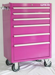 Great repurposed code cart used for bead storage. In pink! But yes, Brenda, we would do it in turquoise! Bead Storage, Craft Storage, Storage Ideas, Pink Tool Box, Craftsman Home Decor, Moving In Together, Everything Pink, New Crafts, Room Organization