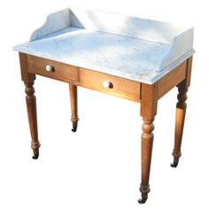 Marble top wash stand in Pine at 1stdibs