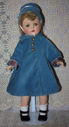 Turquoise Blue Corduroy Doll Coat and Matching Hat 1940's