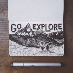 go explore - illustration - moleskine Sketchbook Inspiration, Art Sketchbook, Fashion Sketchbook, Moleskine, Karten Diy, Art Inspo, Painting & Drawing, Amazing Art, Art Drawings