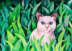 White cat in green grass Digital Download Art printable, animal watercolor painting for cat lovers, art craft supplies by kapussta on Etsy