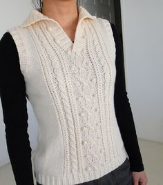 Knitting Patterns Vest Ravelry: Aran Vest pattern by Pierrot (Gosyo Co. Crochet Shrug Pattern Free, Knit Vest Pattern, Sweater Knitting Patterns, Free Knitting, Free Pattern, Crochet Mens Scarf, Crochet Lace, Aran, Pierrot