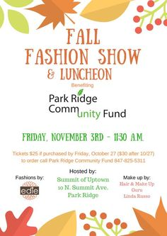 Join us this November for our Fall Fashion Show!!!