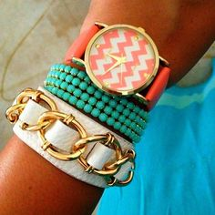 Summer 2013 women's fashion. Coral chevron watch with teal and white bracelets