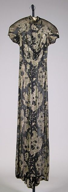 Evening dress | House of Schiaparelli | French | 1938 | silk, metallic | Brooklyn Museum Costume Collection at The Metropolitan Museum of Art | Accession Number: 2009.300.3943