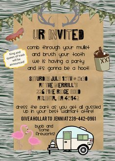 Redneck party invite personalized and by KMCustomCreations on Etsy