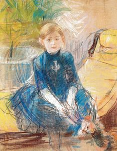 Berthe Morisot - Child with Blue Dress, 1886 (Musee Marmottan Monet - Paris France) at Museo Thyssen-Bornemisza Madrid Spain