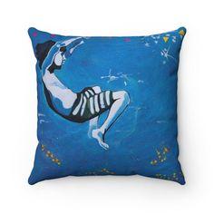 Square Pillow Underwater Boy Blue | Etsy #art #underwaterart #escapismart #contemportart #dreamyart #blueart #bluecushion Cushions For Sale, Blue Cushions, Star Cushion, Cushion Pillow, Underwater Art, Boy Art, Boy Blue, Uk Shop, The Unit