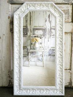 L O N G..   Shabby Chic White Mirror Bedroom by smallVintageAffair