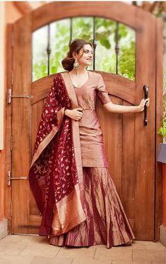 dazzling brown palazzo suit with banarasi dupatta Gharara Designs, Kurta Designs Women, Kurti Designs Party Wear, Indian Fashion Dresses, Dress Indian Style, Indian Designer Outfits, Fashion Outfits, Simple Pakistani Dresses, Pakistani Dress Design