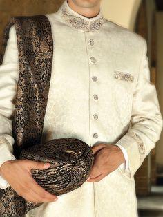 Traditionally Styled Karandi Jamawar Sherwani in Off White
