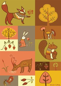 Characters for an illustrated wallplanner by Nicola Colton, via Behance