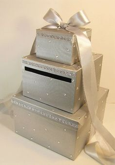 Please read my shop announcement !!!! bwithu.etsy.com  This listing is included: *3 tier card box(any color) ribbon and bow(any color) rhinestones all over the box. rhinest... #handmade #wedding