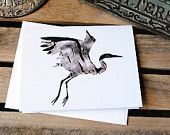 Blue Heron : Eco-friendly, Recycled note card - Photography, Animal Silhouette, Bird Art - Woodland, Wildlife, Nature Art