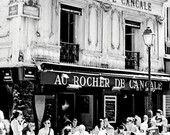 Black and White Paris Photograph - Au Rocher de Cancale France - French Cafe Art  - Urban Street Scene Print - Parisian Bistro - People