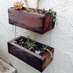 Redwood reclaimed wood hanging planter boxes  $20  https://www.etsy.com/shop/BackyardInspirations?ref=hdr_shop_menu