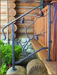 Beautiful hand forged iron work- pine cones on branch railing Front Porch Railings, Wrought Iron Stair Railing, Banisters, Porch Steps, Front Steps, Blacksmith Projects, Welding Projects, Outdoor Steps, Steel Fence