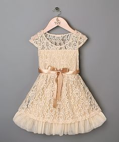 Look at this Peach Lace Dress - Toddler & Girls on #zulily today!