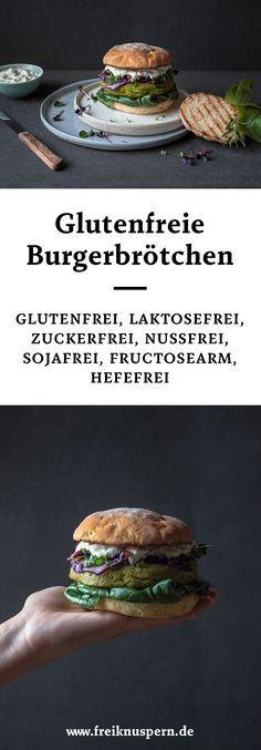 glutenfree burger buns! Glutenfreie Burgerbrötchen, mit und ohne Hefe. Außerdem laktosefrei, sojafrei, zuckerfrei & fructosearm! Echter Burgergenuss | freiknuspern - Rezepte für Allergiker!