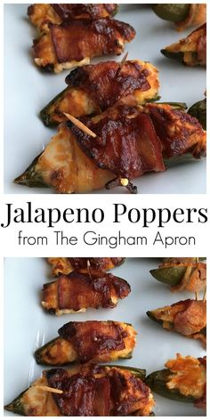 Jalapeno Poppers- stuffed with cream cheese, wrapped in bacon, and brushed with sauce. These are a definitely crowd pleaser!